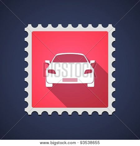 Red Mail Stamp Icon With A Car