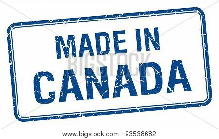 Made In Canada Blue Square Isolated Stamp
