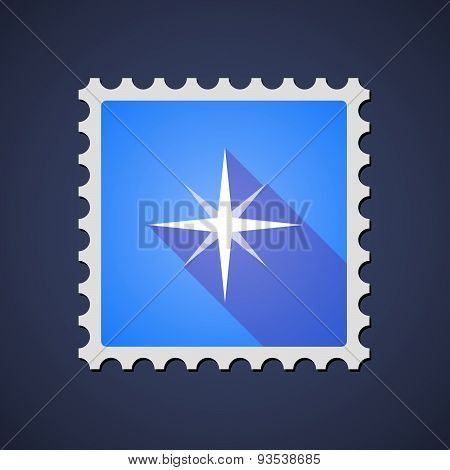 Blue Mail Stamp Icon With A Sparkle