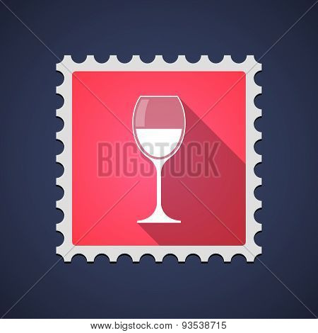 Red Mail Stamp Icon With A Glass Of Wine