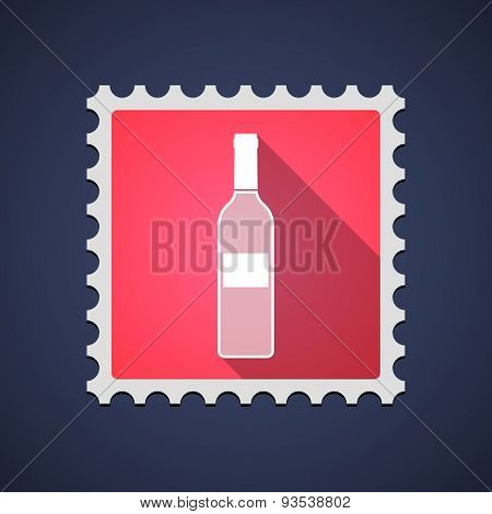 Red Mail Stamp Icon With A Bottle Of Wine