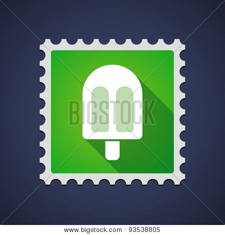 Green Mail Stamp Icon With An Ice Cream
