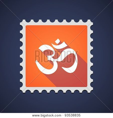 Orange Mail Stamp Icon With An Om Sign