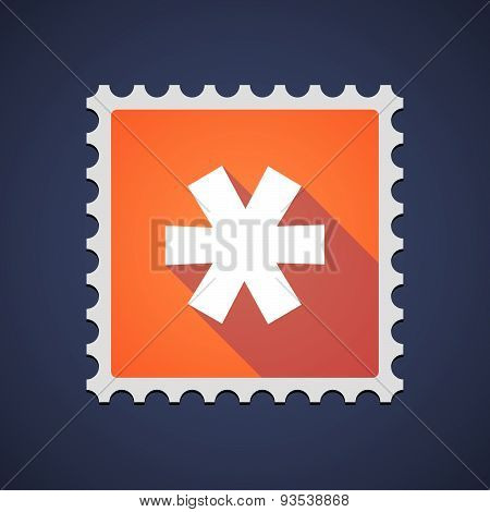 Orange Mail Stamp Icon With An Asterisk