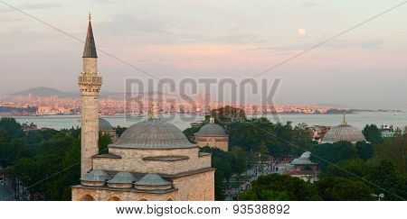 Firuz Aga Mosque and panoramic view of Istanbul city