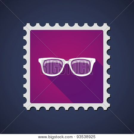 Purple Mail Stamp Icon With A Glasses