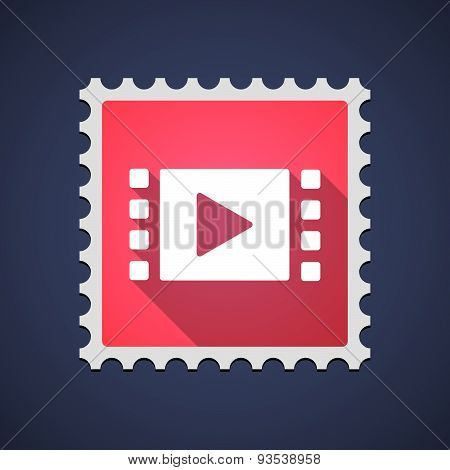 Red Mail Stamp Icon With A Multimedia Sign