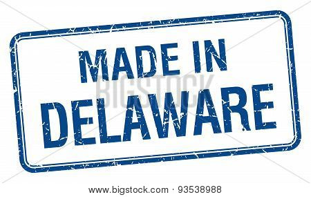 Made In Delaware Blue Square Isolated Stamp