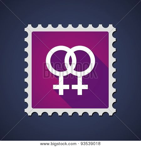 Purple Mail Stamp Icon With A Lesbian Sign