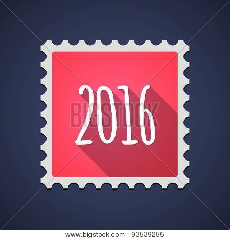 Red Mail Stamp Icon With A 2016 Sign