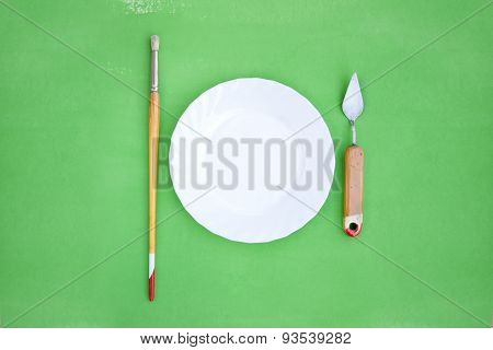 Painting Instruments Like A Cutlery With Plate