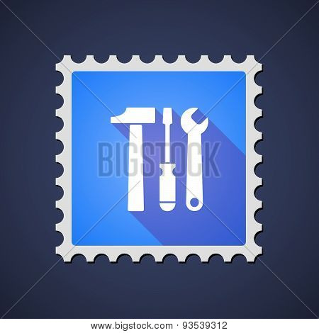 Blue Mail Stamp Icon With A Tool Set