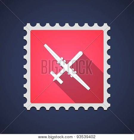 Red Mail Stamp Icon With A War Drone