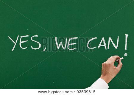 drawing on blackboard optimist message