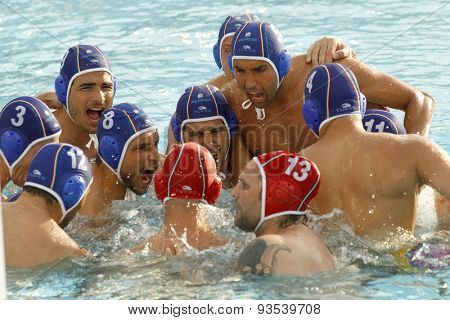 BARCELONA - MAY, 29: Pro Recco team waterpolo players before a LEN Champions League Final Six match against  Atletic Barceloneta at the Picornell Swimming pool on May 29 2015 in Barcelona Spain