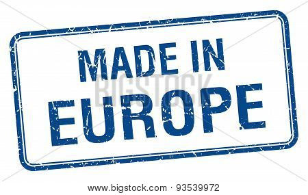 Made In Europe Blue Square Isolated Stamp