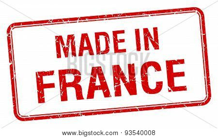 Made In France Red Square Isolated Stamp