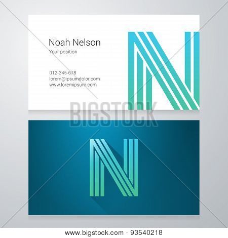 Letter N Business Card Template
