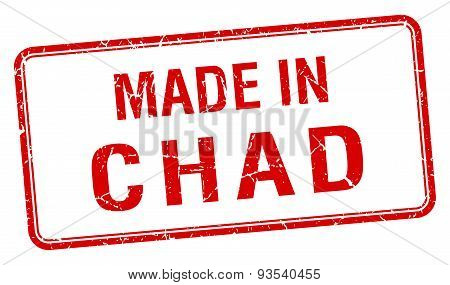 Made In Chad Red Square Isolated Stamp