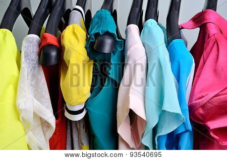 Multicolored Womens Clothing Hanging On The Hanger Verticalclothing Pastel Colors Hanging