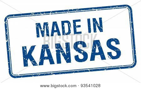 Made In Kansas Blue Square Isolated Stamp