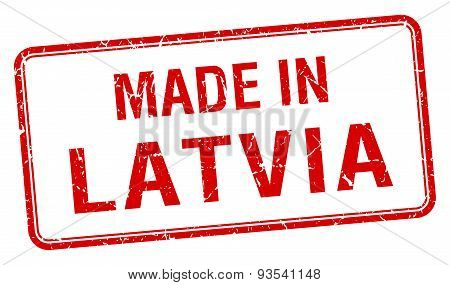 Made In Latvia Red Square Isolated Stamp