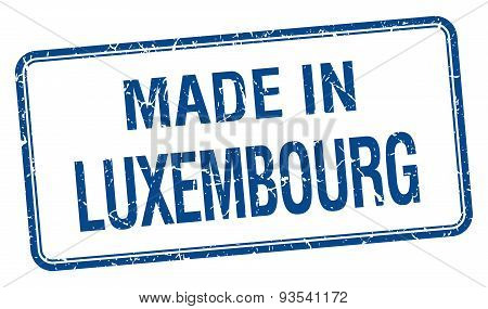 Made In Luxembourg Blue Square Isolated Stamp