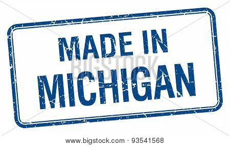 Made In Michigan Blue Square Isolated Stamp