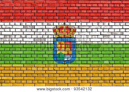 Flag Of La Rioja Painted On Brick Wall
