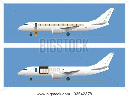 Jet Airliner And Cargo Aircraft