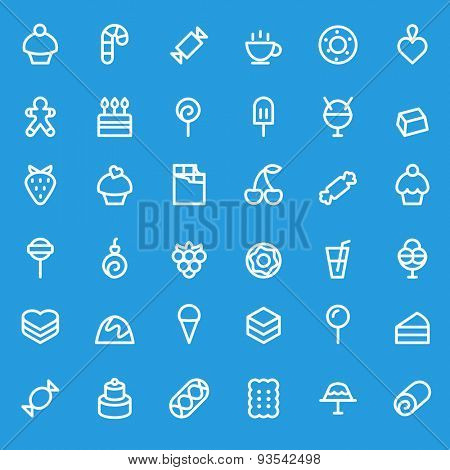Sweet pastry icons, simple and thin line design