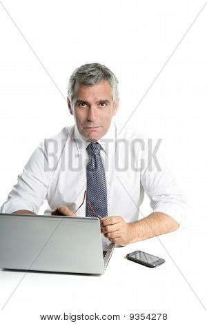 Businessman Senior Gray Hair Working Laptop