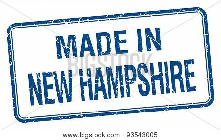 Made In New Hampshire Blue Square Isolated Stamp