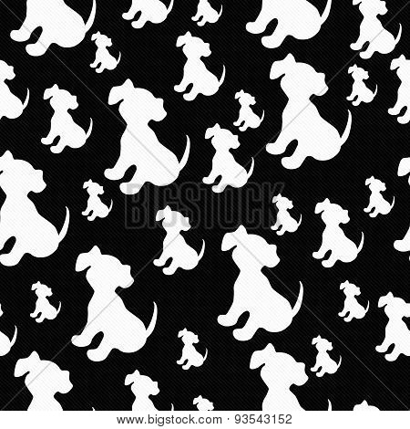 Black And White Puppy Dog Tile Pattern Repeat Background