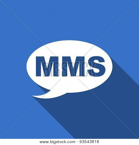 mms modern flat icon with long shadow message sign