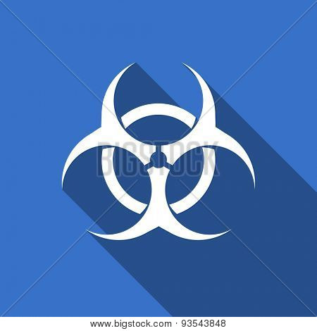 biohazard modern flat icon with long shadow virus sign