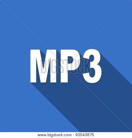 mp3 modern flat icon with long shadow