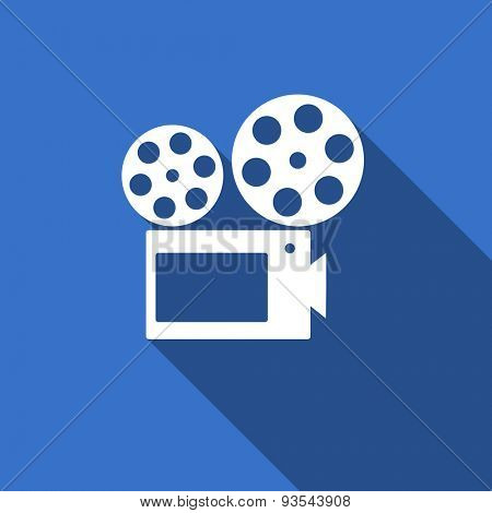 movie modern flat icon with long shadow cinema sign