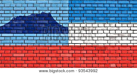 Flag Of Sabah Painted On Brick Wall