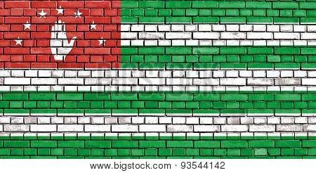 Flag Of Abkhazia Painted On Brick Wall