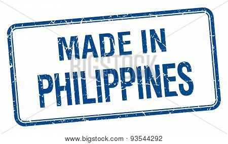 Made In Philippines Blue Square Isolated Stamp