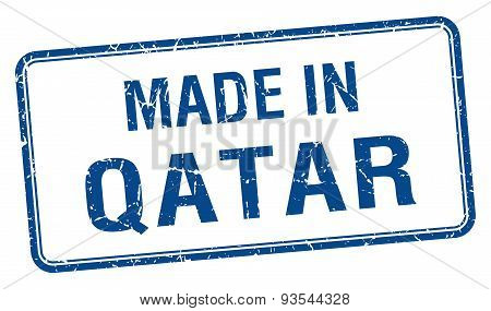 Made In Qatar Blue Square Isolated Stamp
