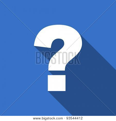 question mark modern flat icon with long shadow ask sign