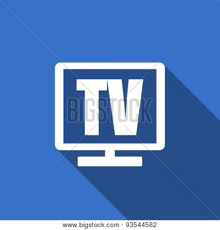 tv modern flat icon with long shadow television sign