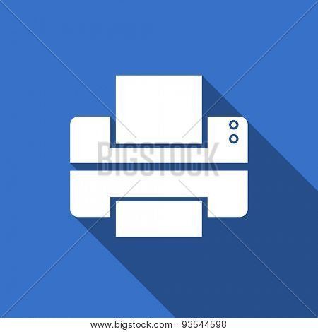 printer modern flat icon with long shadow print sign