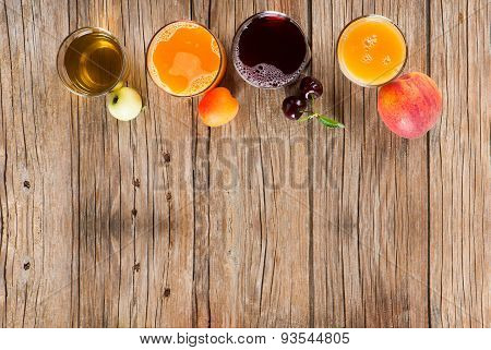 Juices And Fruits, Shot From Above