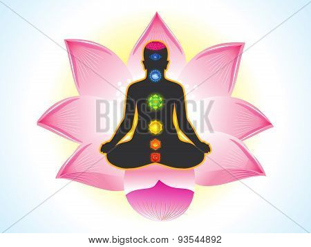 Abstract Yogi With Lotus Background