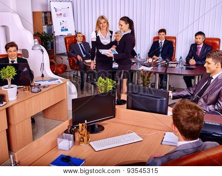 Happy group business mem and lady people in office.