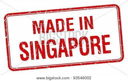 Made In Singapore Red Square Isolated Stamp