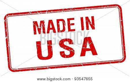 Made In Usa Red Square Isolated Stamp